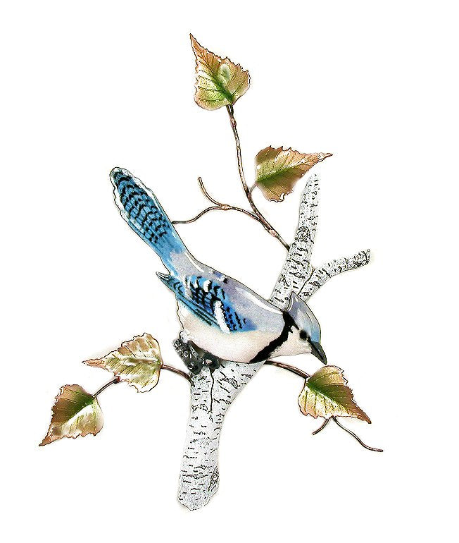 Bovano Enamel Blue Jay on Birch Wall Art