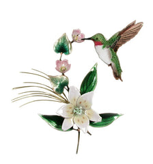 Bovano Enamel Hummingbird on Wood Lily Wall Decor
