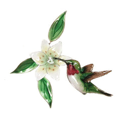 Bovano Enamel Hummingbird with Wood Lily Wall Decor