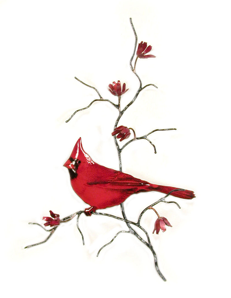 Bovano Enamel Male Cardinal on Branch Wall Decor