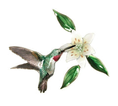 Bovano Enamel Broad Tailed Hummingbird with Wood Lily Wall Decor