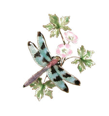 Bovano Enamel Check-Winged Dragonfly on Flower Wall Decor