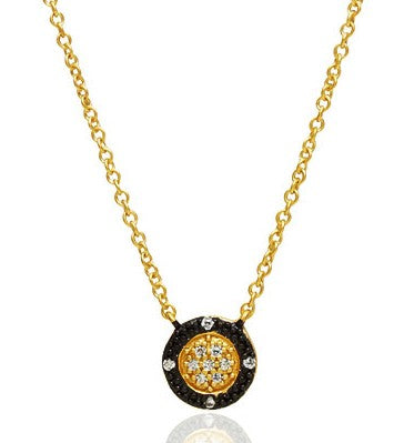 Freida Rothman Gold Vermeil and Cubic Zirconia Bling Button Necklace