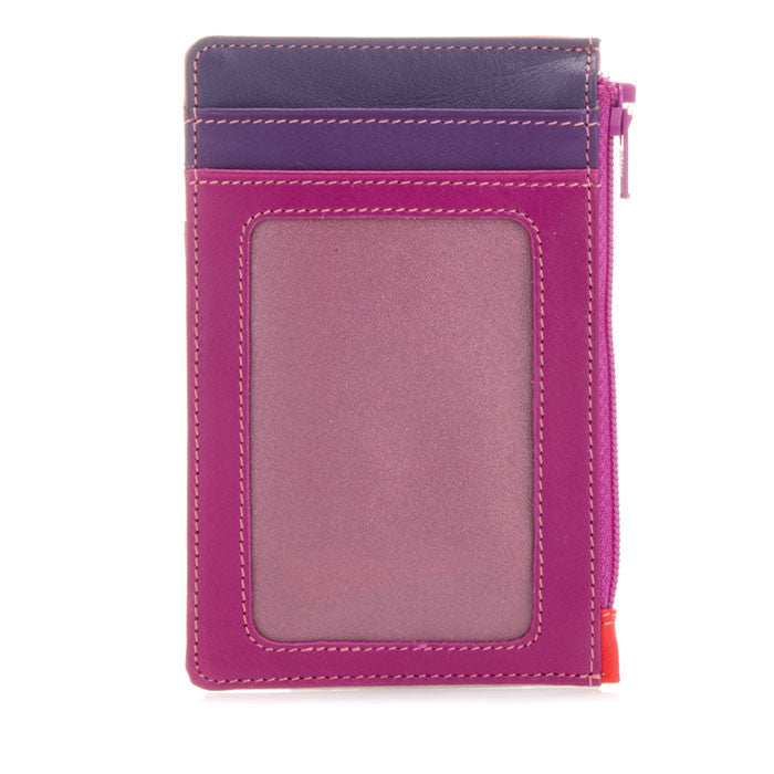 mywalit leather credit card holder and coin purse in sangria multi