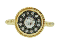 Freida Rothman nautical button gold vermeil and cubic zirconia ring
