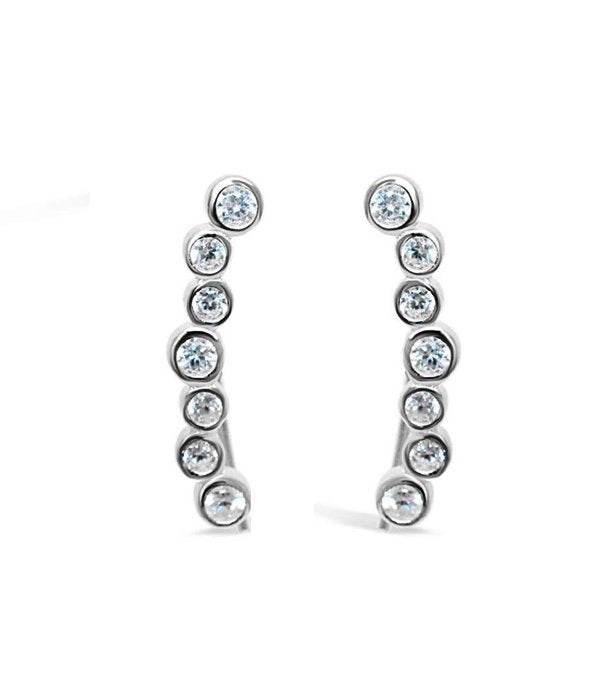 Stia Sterling Silver Bubble Bezel Crawler Earrings