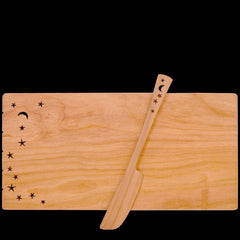 Moonspoon Cheese Board with Spreader in Celestial
