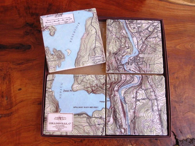 Collinsville, CT Map Marble Tile Coaster Set