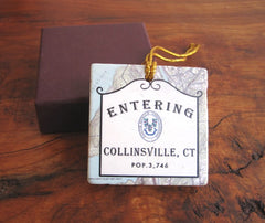 Collinsville, CT Sign Marble Tile Ornament