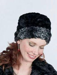 Cuffed Pillbox Hat in Smoky Essence & Black