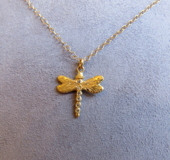 Victoria Cunningham 14 Karat Gold Dragonfly Necklace
