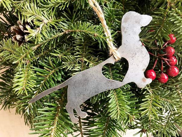 BE Creations Steel Dachsund Ornament