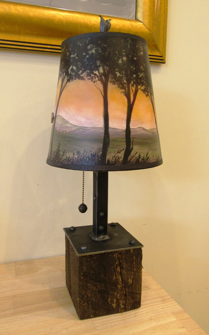 Janna Ugone Steel & Reclaimed Wood Table Lamp with Dawn Shade