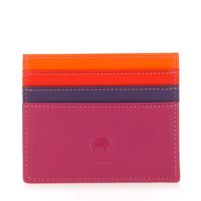 mywalit Leather Credit Card Holder in Sangria Multi