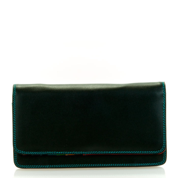 mywalit leather medium matinee wallet in black pace