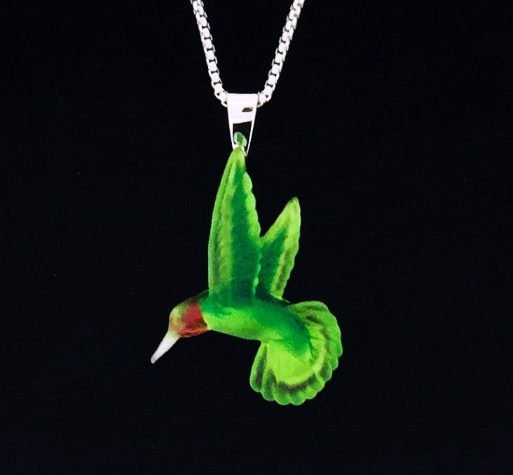 Matt Bezak Glass Hummingbird Pendant Set in Sterling Silver