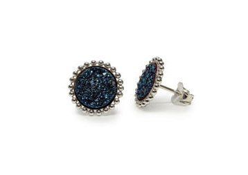 Stia Sterling Silver Black Druzy Sparkle Post Earrings
