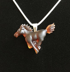 Matt Bezak Glass Brown Spirit Horse Pendant Set in Sterling Silver
