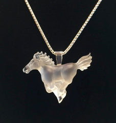 Matt Bezak Glass White Spirit Horse Pendant Set in Sterling Silver