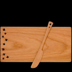 Moonspoon Cheese Board with Spreader in Leaf