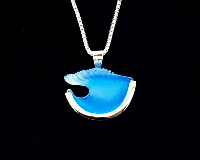 Matt Bezak Glass Large Wave Pendant Set in Sterling Silver