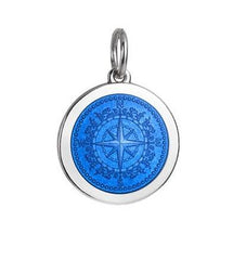 Colby Davis Sterling Medium Compass Rose Pendant in French Blue Enamel  on Chain