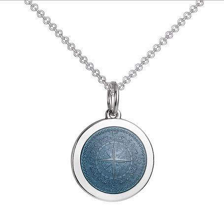 Colby Davis Sterling Medium Compass Rose Pendant in Gray Enamel  on Chain