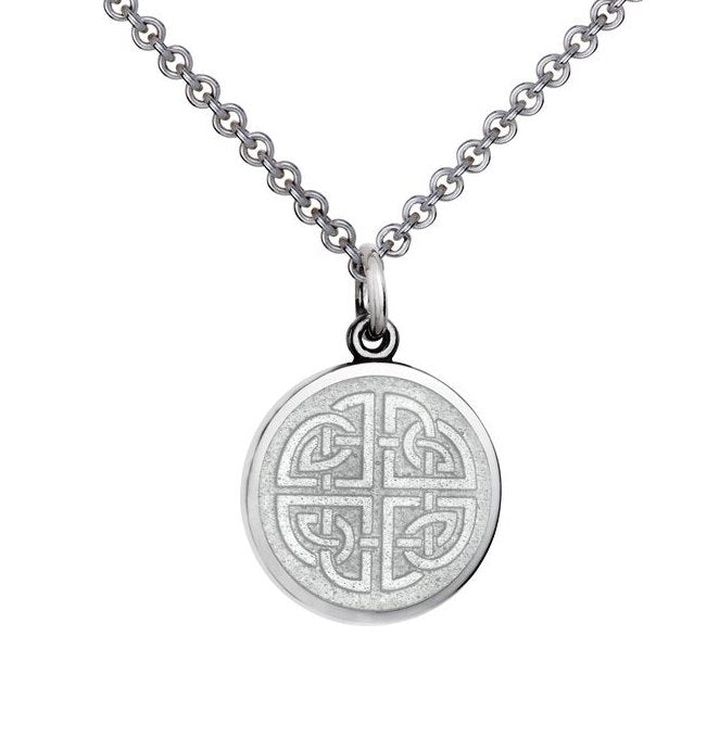 Colby Davis Sterling Small Mother Daughter Pendant in White Enamel on Chain