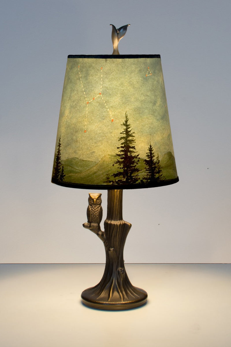 Janna Ugone Small Bronze Table Lamp with Owl with Midnight Sky Shade