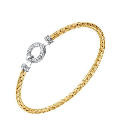 "Charles Garnier Gold-Plated and Cubic Zirconia ""Savannah"" Woven Bangle Bracelet"