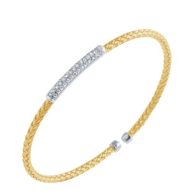 Charles Garnier 18k Yellow Gold Plate and Cubic Zirconia Nardini Woven Cuff Bracelet