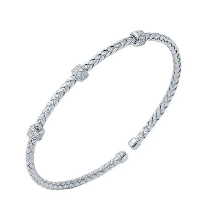 Charles Garnier Sterling and Cubic Zirconia Torino Woven Cuff Bracelet