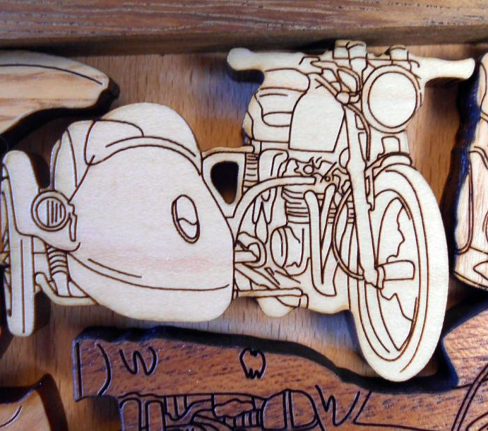 Creative Crafthouse Motorcycle Rally Wood Picture Frame Puzzle