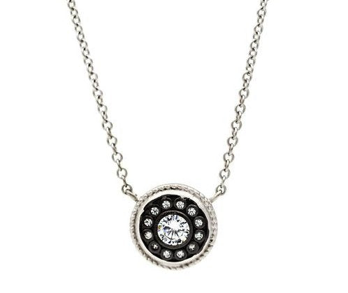 Freida Rothman nautical button sterling silver and cubic zirconia necklace
