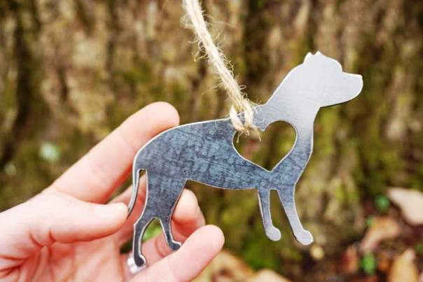 BE Creations Steel Pitbull Ornament