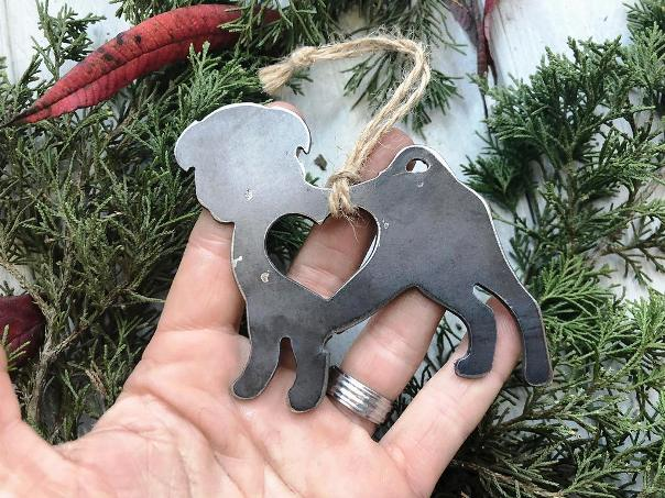 BE Creations Steel Pug Ornament