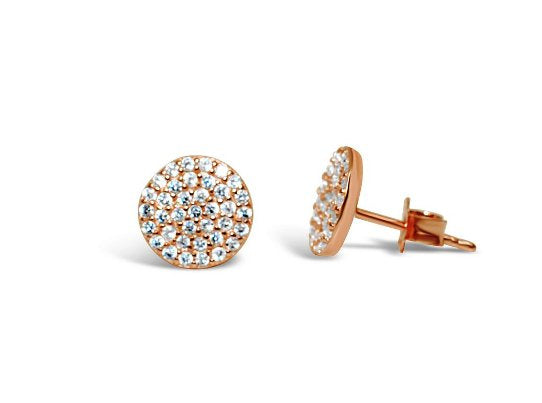 Stia Pave Icon Rose Gold Plated Disk Post Earrings