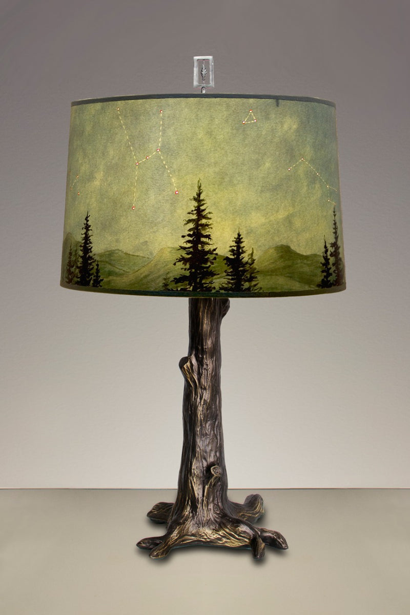 Janna Ugone Large Bronze Tree Table Lamp with Shade in Midnight Sky