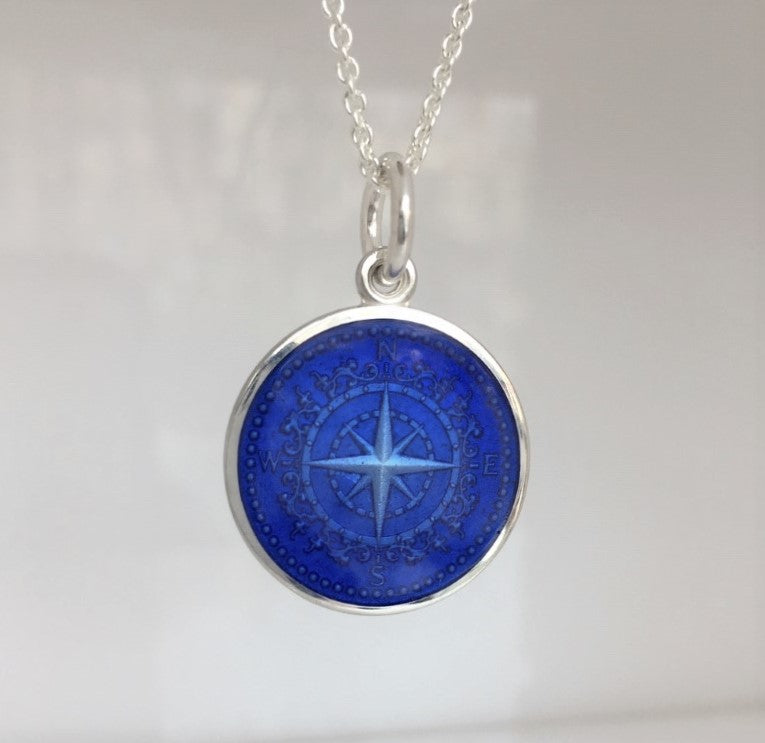 Colby Davis Sterling Small Compass Rose Pendant in Royal Blue Enamel on Chain