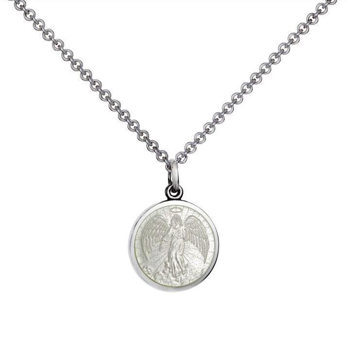 Colby Davis Small Sterling Guardian Angel Pendant in White Enamel on Chain