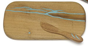 Treestump Woodcraft Mesquite Wood with Turquoise Inlay Cheese Board with Server