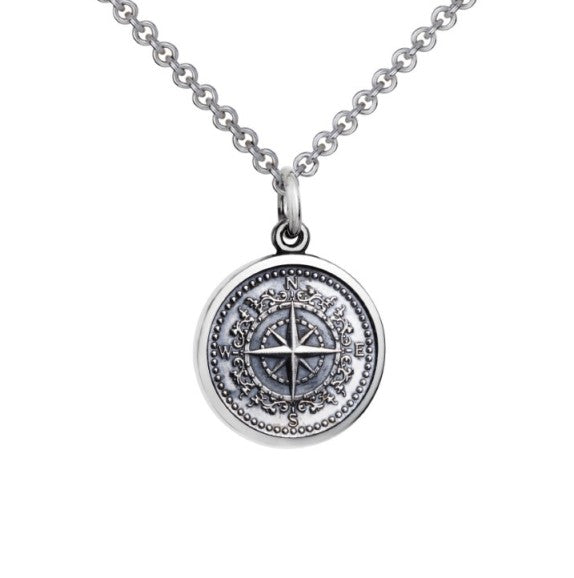 Colby Davis Oxidized Sterling Silver Small Compass Rose Pendant on Chain