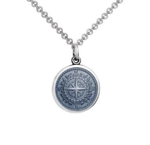 Colby Davis Sterling Small Compass Rose Pendant in Gray Enamel on Chain