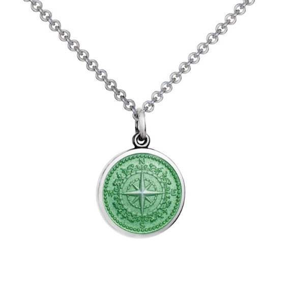 Colby Davis Sterling Small Compass Rose Pendant in Light Green Enamel on Chain