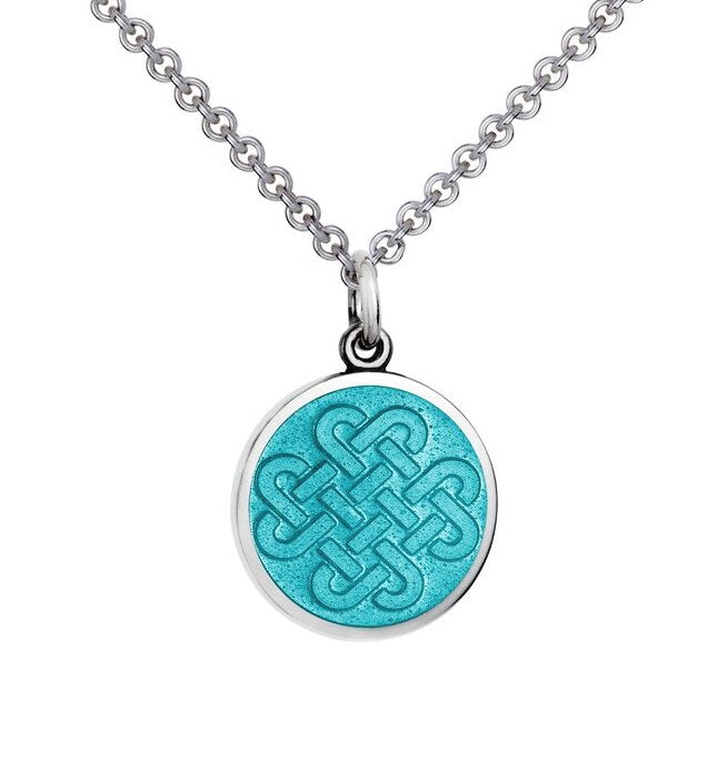Colby Davis Small Sterling Silver Forever Friends Pendant with Light Blue Enamel