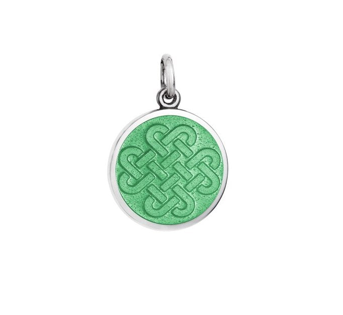 Colby Davis Small Sterling Silver Forever Friends Pendant with Light Green Enamel