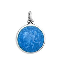 Colby Davis Sterling Small St. Christopher Pendant in French Blue Enamel
