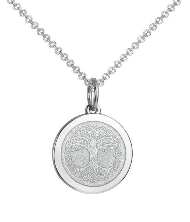 Colby Davis Medium Sterling and White Enamel Tree of Life Pendant on Chain