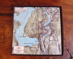 Collinsville, CT Map Marble Tile Trivet
