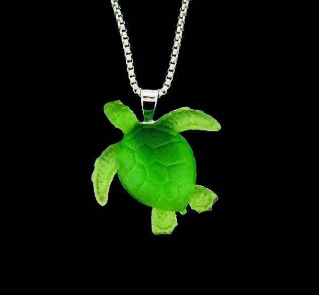 Matt Bezak Glass Sea Turtle Pendant Set in Sterling Silver